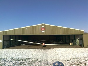 Glider in the hanger on a winters day