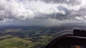 A shower cloud in the distance on a Cross Country