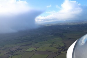 An approaching shower dodged while soaring the Wrekin